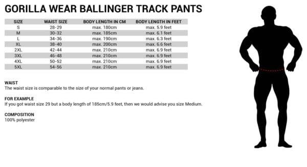 Tabel Marimi Pantaloni Trening Barbati Ballinger - Roșu cu Negru - Gorilla Wear