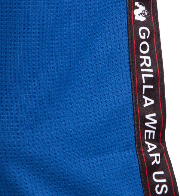 Detalii - Pantaloni Trening Albastri Barbati din Plasa Gorilla Wear