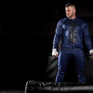 Pantaloni Trening Ballinger - Albastru cu Negru - Pantaloni de trening barbati