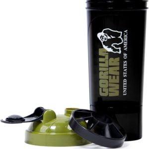 Shaker Compact 400 ML + 100 Gorilla Wear Negru Verde Militar Accesorii fitness