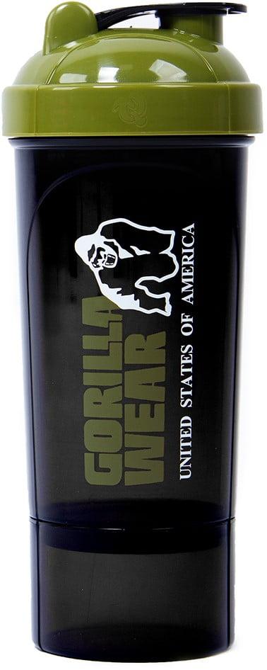 Shaker Compact 400 ML + 100 Gorilla Wear Negru Verde Militar - Shaker Proteine