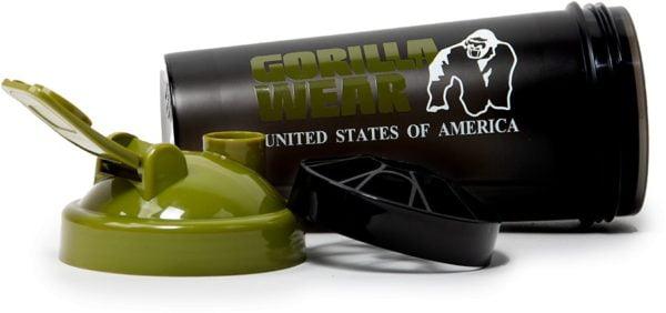 Shaker XXXL - 1000ML Gorilla Wear - Negru-Verde Shaker fitness