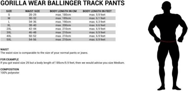 Tabel de marimi Pantaloni Trening Ballinger - Albastru cu Negru