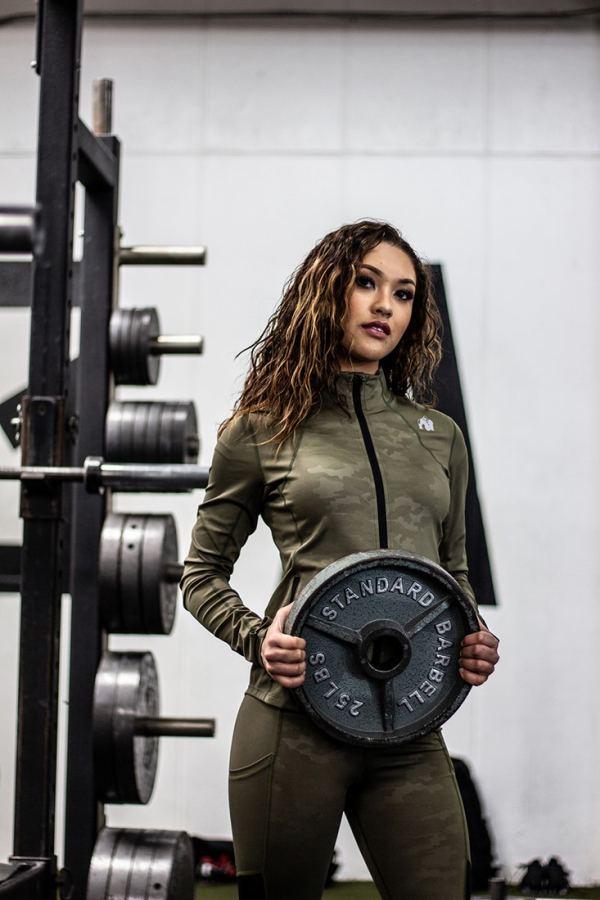 Jacheta Femei Savannah - Verde Militar - Jacheta Fitness