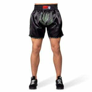 Pantaloni Muay Thai Murdo - Negru cu verde militar - Echipament Sport