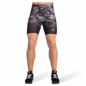 Pantaloni Scurti Barbati Franklin - Negru cu Gri Camuflaj - Pantaloni Fitness