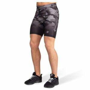 Pantaloni Scurti Barbati Franklin - Negru cu Gri Camuflaj - Pantaloni GorillaWear