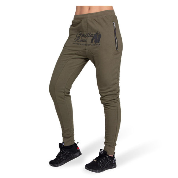 Pantaloni jogger cu tur lasat Celina - Verde Militar - Pantaloni GorillaWear