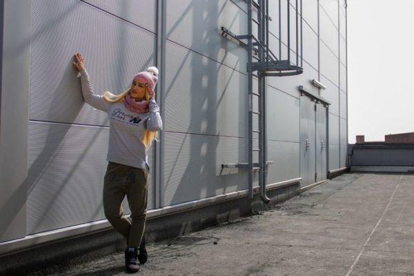 Pantaloni jogger cu tur lasat Celina - Verde Militar - Pantaloni Sport