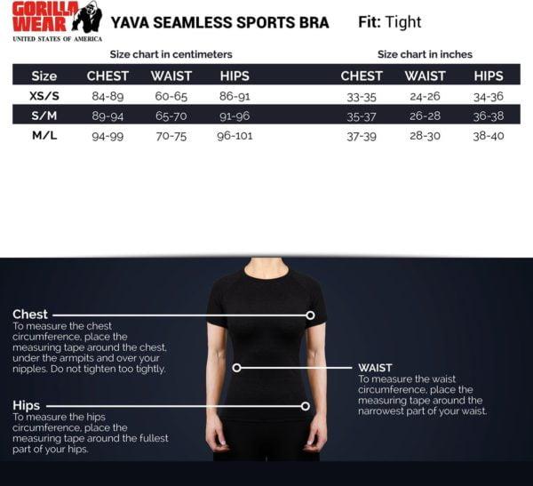 tabel bustiera femei yava seamless sports - bustiera fitness - bustiera femei - bustiera sport